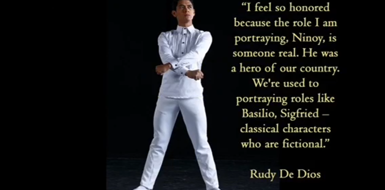 Ballet Manila principal dancer, Rudy de Dios, reprises his role as the late Senator Benigno Aquino Sr.