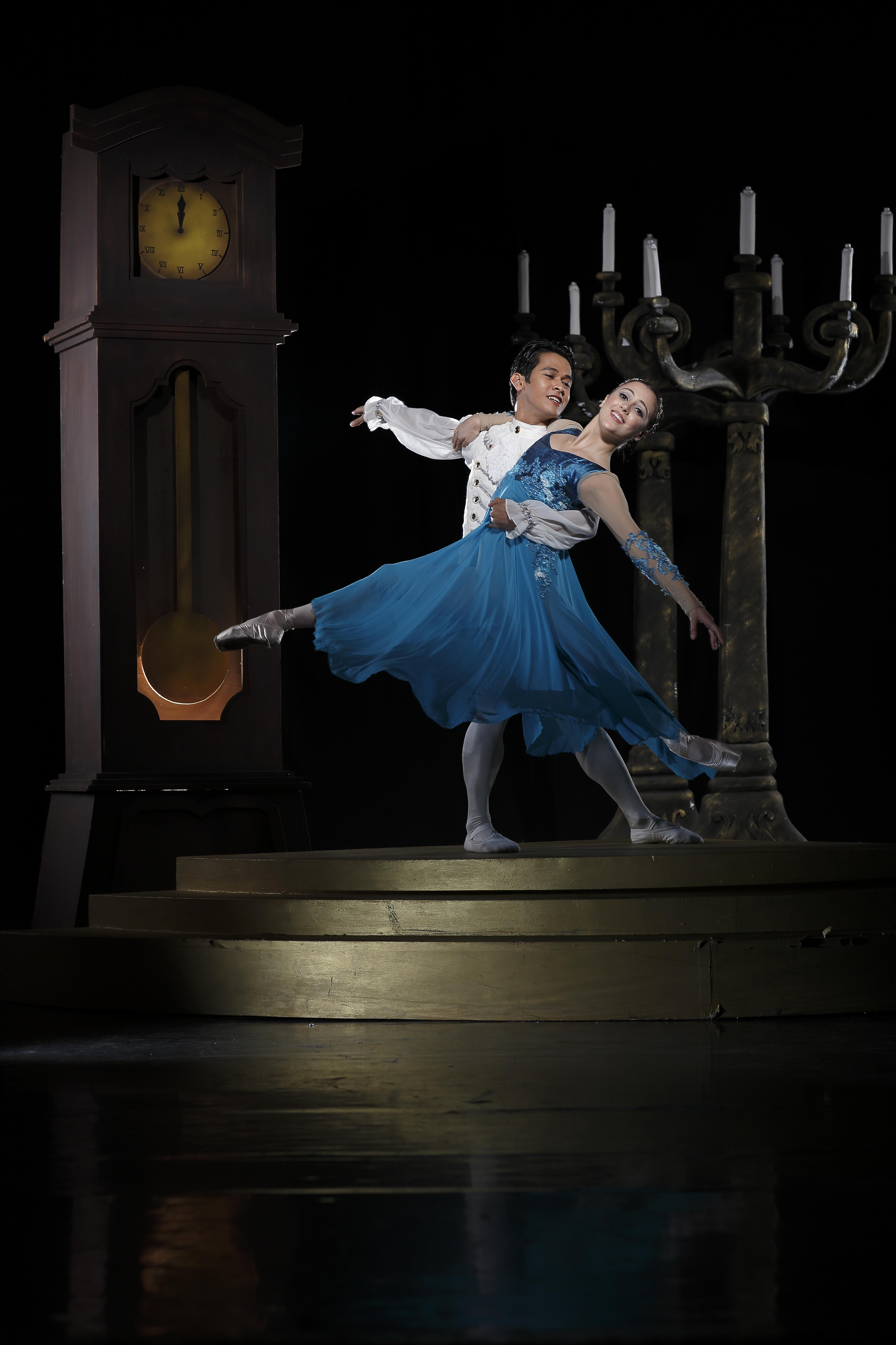 Cinderella and her Prince Charming in a scene from Ballet Manila's adaptation of the fairy tale