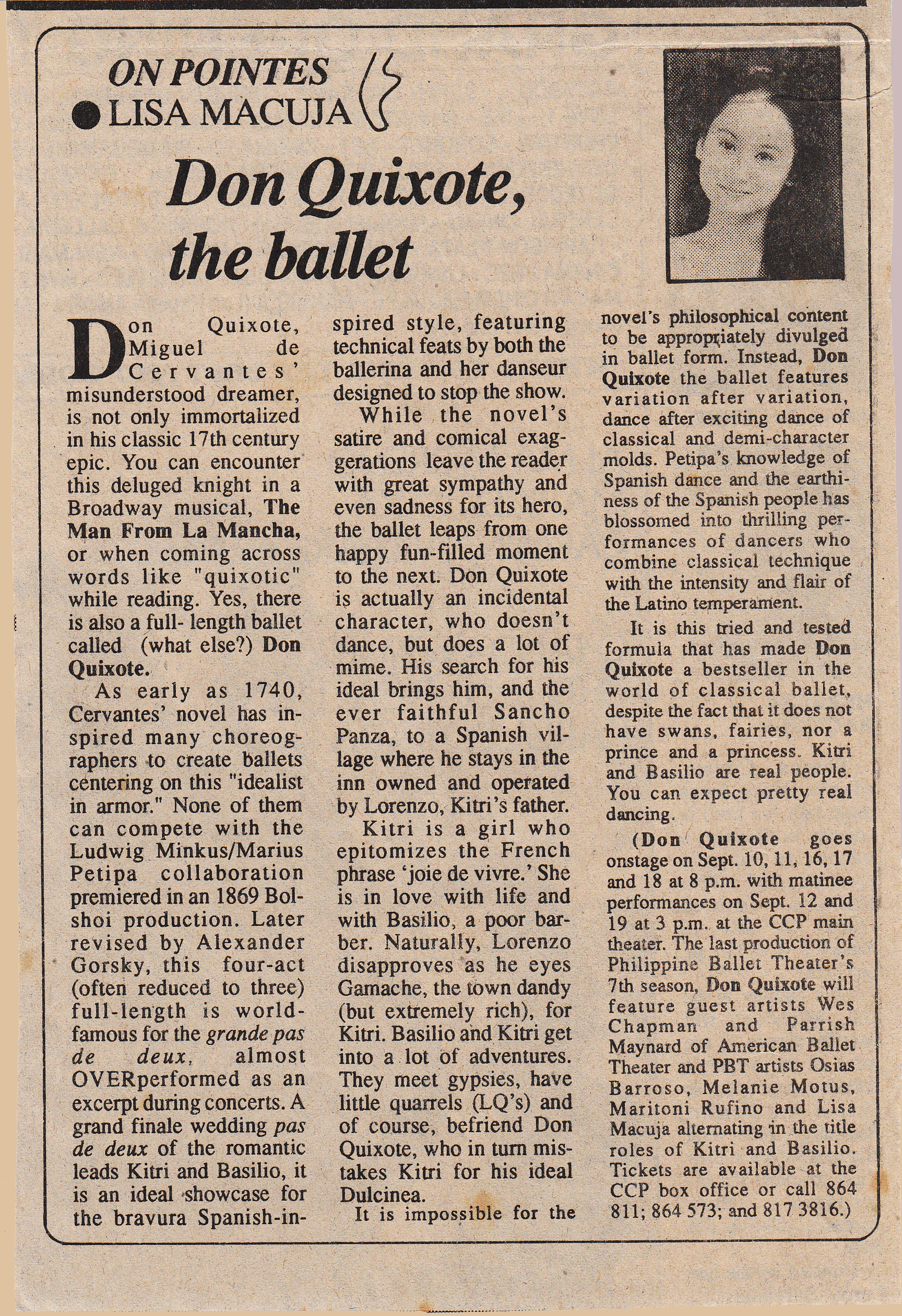 Clipping of Lisa Macuja's column published in Malaya
